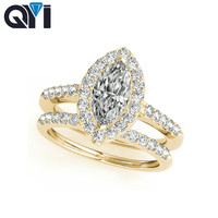 QYI Solid Yellow 10K Gold Halo Engagement Ring Sets Marquise Cut 1.2ct Sona Simulated Diamond Jewelry Wedding Ring For Women
