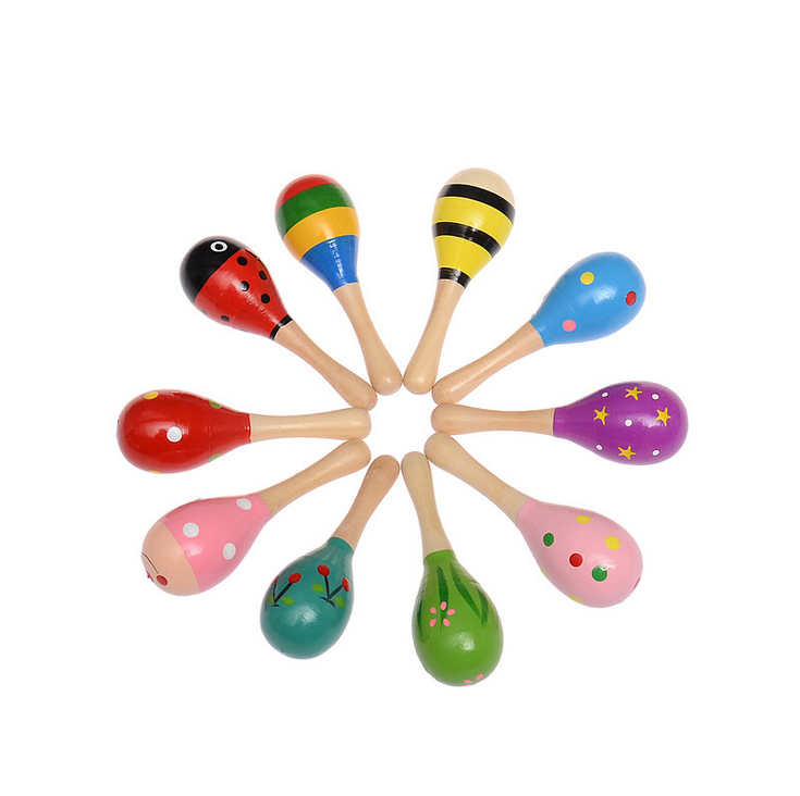 1PC Baby Colorful Wooden Maraca Hand Rattles Sand Hammer Child Baby Shaker Percussion Musical Instrument Toy