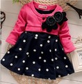 BibiCola kids clothes spliced design girls dresses name brand kids dress 2016 spring autumn children clothing lace child