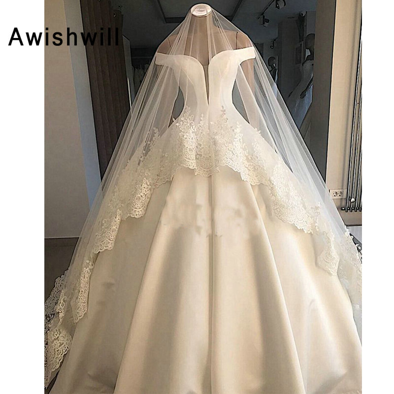 Simple Ball Gown Wedding Dresses 2019 Off The Shoulder V neck Satin Women Bride Wedding Gowns