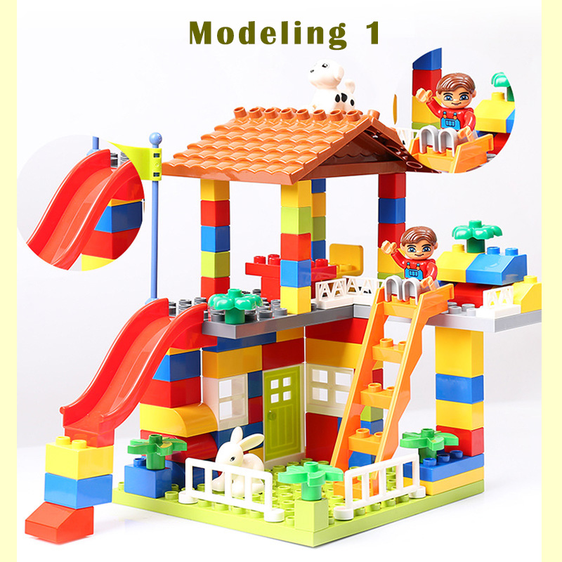 89pcs DIY Colorful City House Roof Big Particle Building Blocks Castle Educational Toy For Children Compatible цена