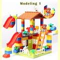 89pcs DIY Colorful City House Roof Big Particle Building Blocks Castle Educational Toy For Children Compatible legoe duplo slide