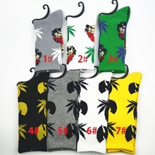 MOQ 10pairs Socks WU Tang & weed Crew socks  CHEECH&CHONG WEED leaf cotton socks men/women Street Socks Fedex free shipping