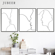 Kissing Art Set Of 3 Prints Wall Love Artwork Line Drawing Romantic Poster Minimal Postets and for Bedroom Home Decor