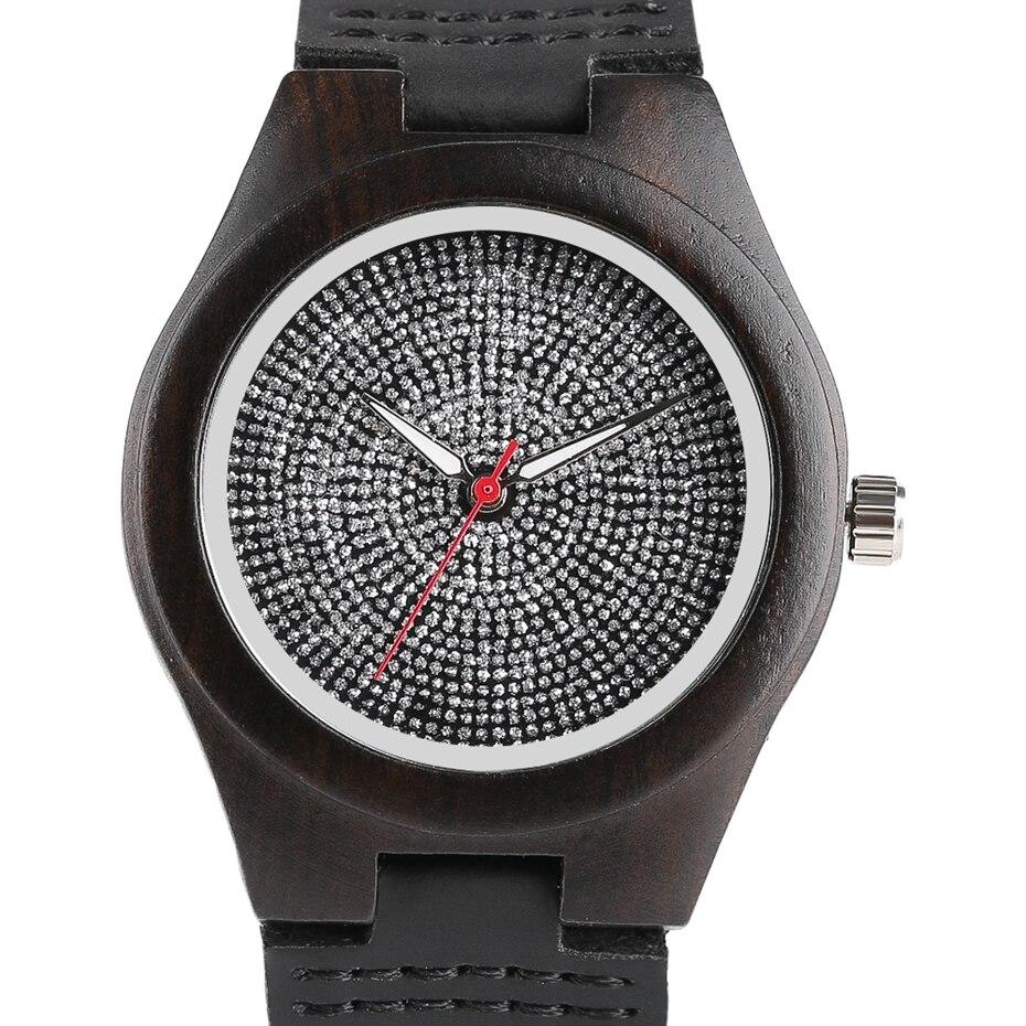 Top Luxury Mens Watch Retro Ebony Wood Watch Unique Diamond Dial Sports Quartz Women Writstwatch Genuine Leather Valentine Gifts 2020 (17)