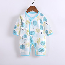 Print Baby Onesies Unisex Covered Button Cotton Crossbody Strap Not Hooded Casual Style Girls Boys Short HDY006