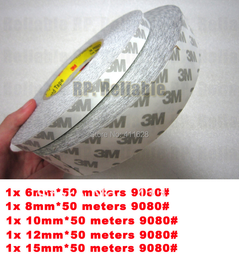Mixed 5x Original 6mm/8mm/10mm/12mm/15mm* 50 Meters 3M 9080 Non-woven Double Coated Adhesive Tape, LED Strip, Phone Repair,