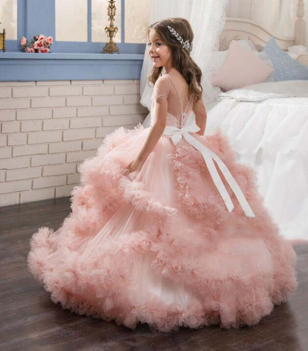 click the other flower girl dresses · Bling Beaded Pearls Crystals pink  Lace flower girl dresses with bow lovely wedding birthday parties tulle ... 61162e0d4670