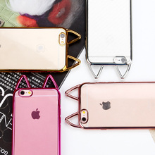 New Fashion Cute Cat Ear Electroplate Thin Plate Coque Soft TPU Funda Clear Phone Cases Cover For iPhone 5G SE 5S 6 6G 6S 7 Plus