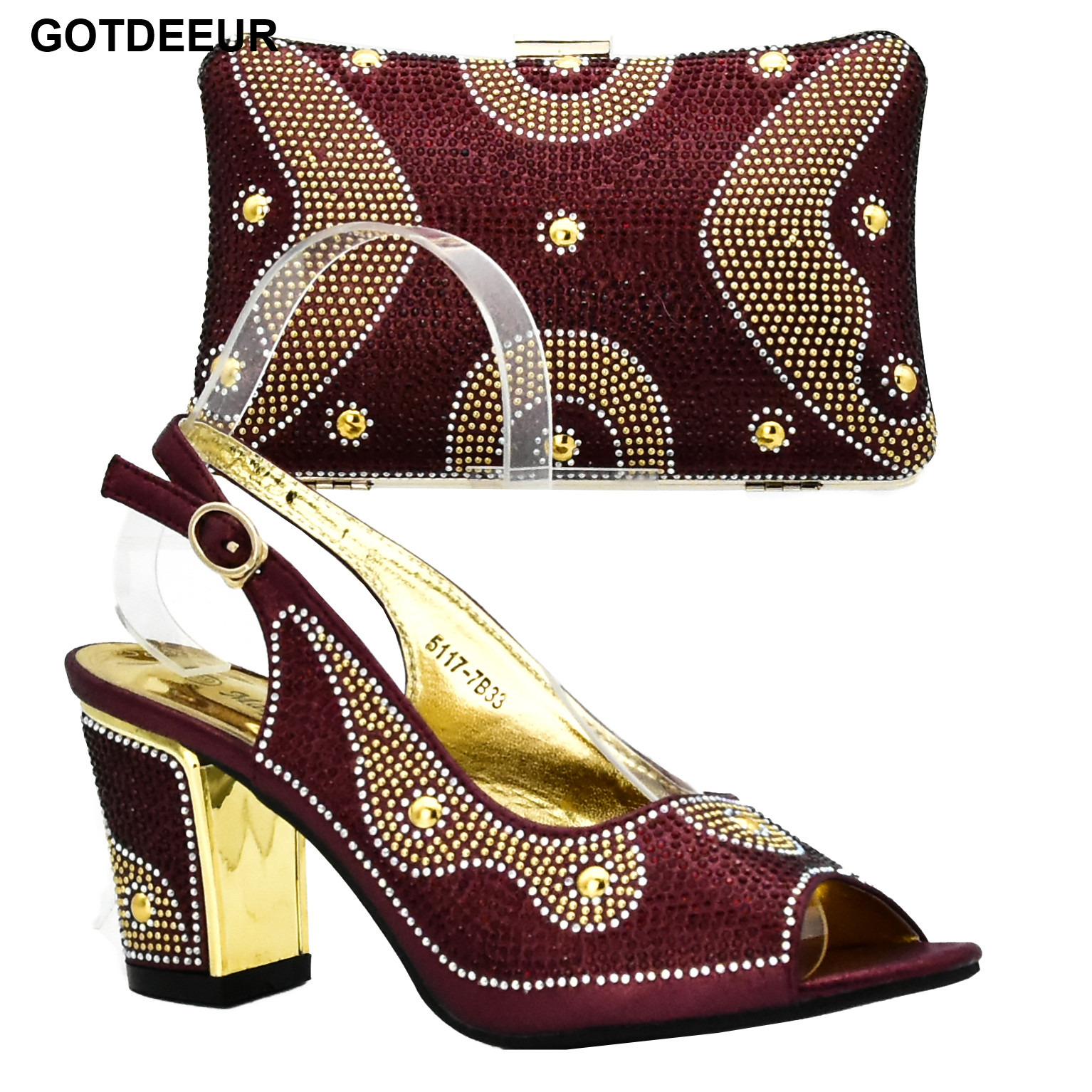 New Arrival Wine Color Italian Ladies Shoes and Bags To Match Set Women Italian African Party Pumps Shoes and Bag Wedding Shoes