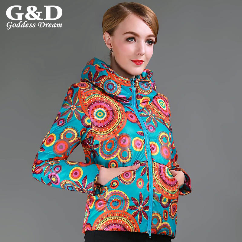 ФОТО European Plus Size Ethnic Floral Print Winter Jacket Women 2015 New White Duck Down Coat Female Vintage Warm Parkas Mjuer JD223