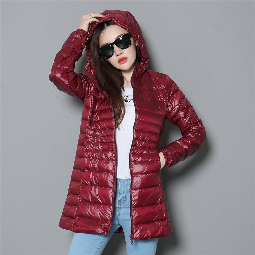 Image 3 - 2018 New Winter Slim Women Midi Long White Duck Down Jacket Big  Size Down Jacket Lady Down Coat Hooded Coats Female Jackets 403Down  Coats