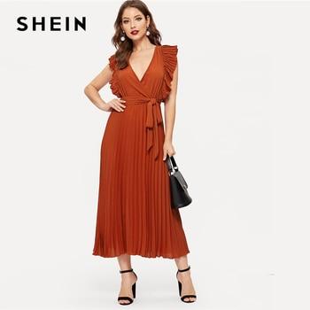 24c7fc607bd Шеин ржавчины плиссированные рюшами отделкой обёрточная бумага узел  однотонное платье с поясом для женщин Лето 2019 г. линия Высокая талия Fit .