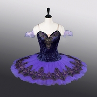 Women Dark Purple Ballet Tutus Velour Bodies With Lace Decoration Tutu Dress ATS9005 Child Size Professional Ballet Pancake