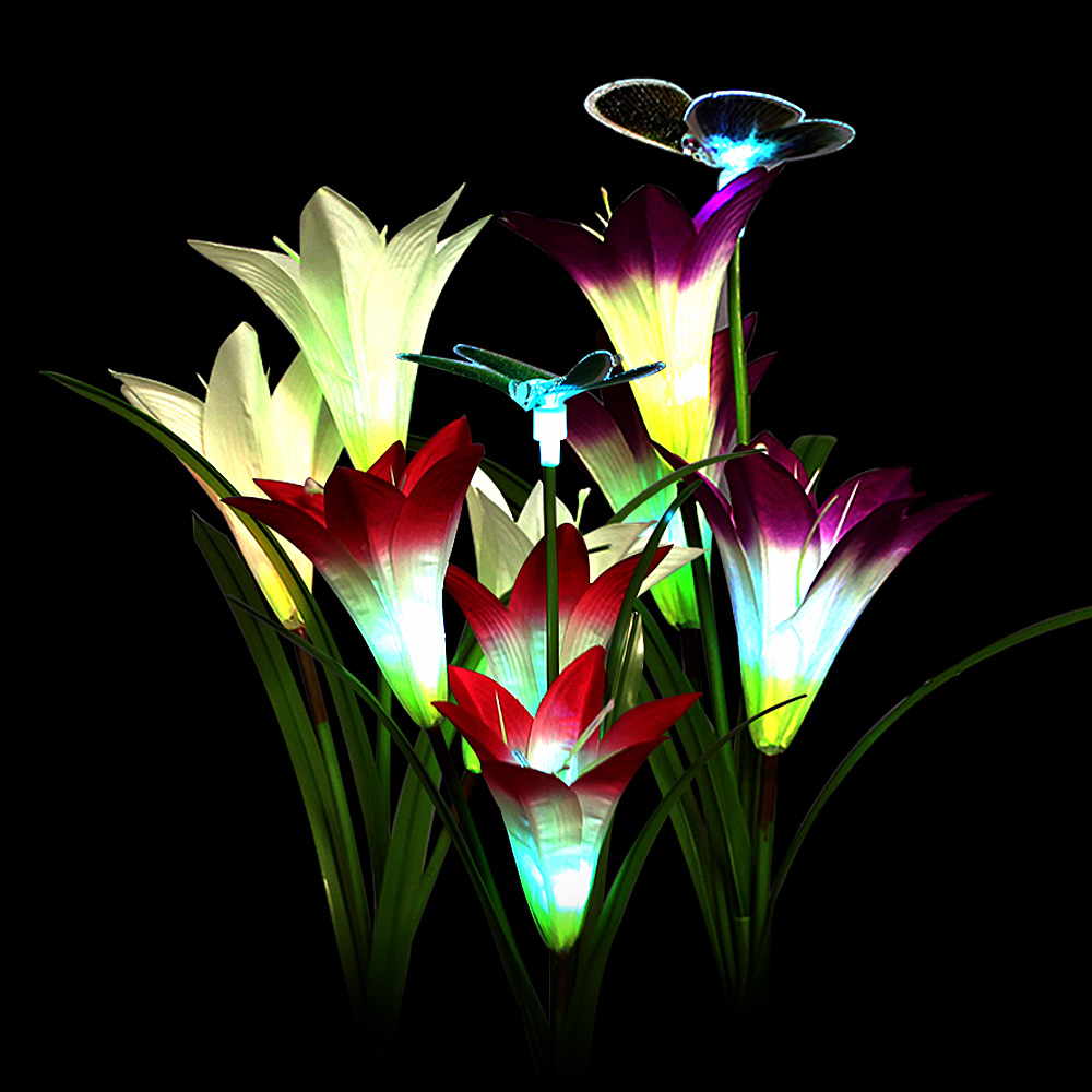 3 Pack LED Fairy Lights Outdoor Lighting Garden ButterflyDragonfly Flower Solar LED Light Decoration Holiday Xmas Wedding Party 7 Colours Change  (11)