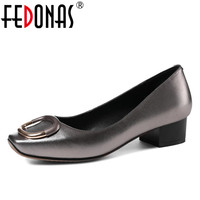 FEDONAS 2018 Brand Women Low Heels Comfort Pumps Sexy Square Toe Party Genuine Leather Shoes Woman