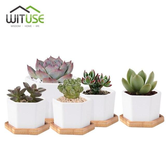 Wituse 4x Cute Flower Pots Container Glazed White Ceramic Mini Flowerpot Porcelain Plants For Succulent Saucer S L