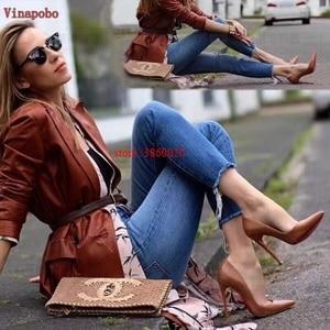 Image 5 - 브랜드 신발 여성 하이힐 여성 신발 펌프 여성용 Stilettos 신발 블랙 브라운 하이힐 12CM 무광택 가죽 웨딩 슈즈