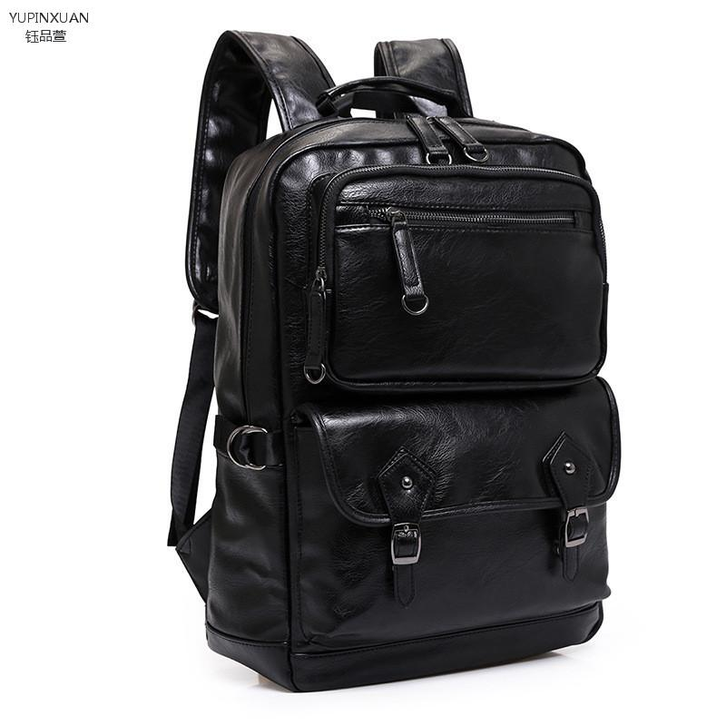 YUPINXUAN Black PU Leather Backpack Men Leather Back Pack Big Backpacks Travel Waterproof School Backpack Gift Mochilas Teenager zebella travel high quality pu leather men backpack big capacity waterproof functional male backpacks school teenager men bags