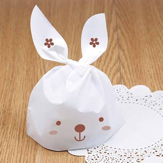 50pcs/lot Wedding Cake Box Cute Plastic Bag Gift Bag Rabbit Ear Biscuit Candy Bags for Party Food Cookie Packaging