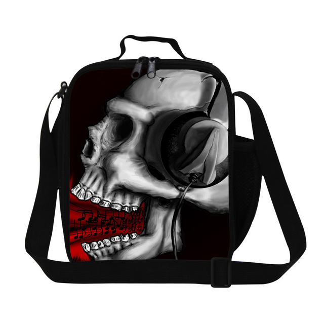 Dispalang skull print lunch bags for children school mens Small work lunch cooler bag crazy insulated lunch container for boys