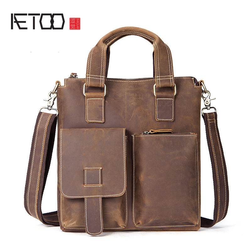AETOO Crazy horse skin men bag shoulder bag leather vertical section retro retro leather men's shoulder Messenger bag male bag цена