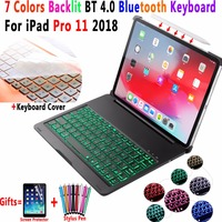 7 Colors Backlit Aluminum Alloy Wireless Bluetooth Keyboard PC Case Cover for Apple iPad Pro 11 11.0 2018 A1980 Coque Funda