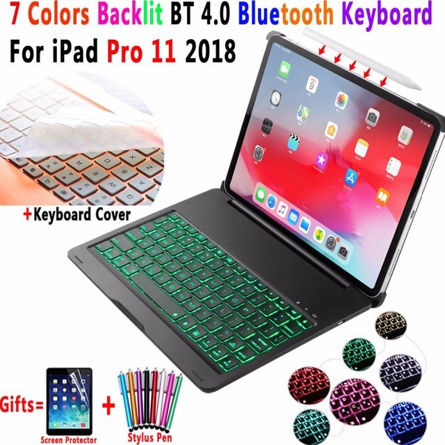 For Apple iPad Pro 11 2018 Keyboard Case 7 Colors Backlit Aluminum Alloy Wireless Bluetooth Keyboard PC Case Cover Coque Funda