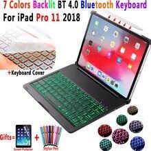 Para Apple iPad Pro 11 2018 Funda para teclado 7 colores de aleación de aluminio retroiluminada teclado inalámbrico Bluetooth PC Funda
