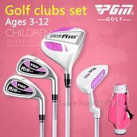 PGM Genuine Children's Golf Club Full Set with Bag 1# Wood/#7 Iron/PW Short/Putter Ages 3 12 Boy Golf Putter Graphite Shaft