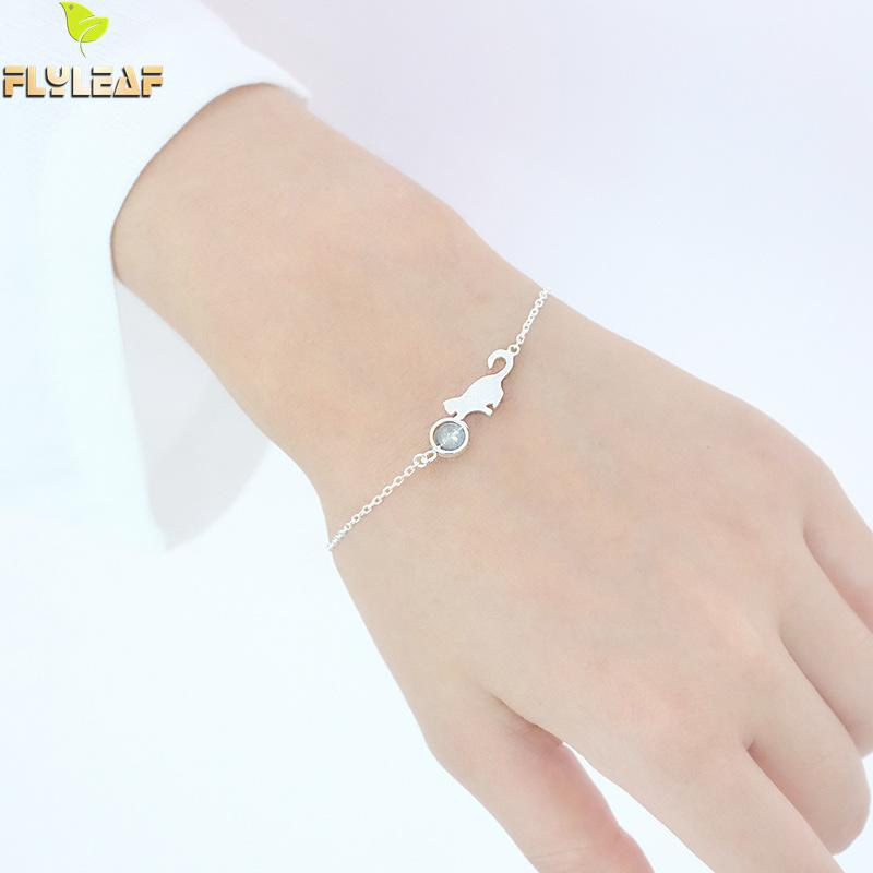 Flyleaf 100% 925 Sterling Silver Moonlight Stone Cat Charm Bracelets & Bangles For Women Creative Fashion Jewelry