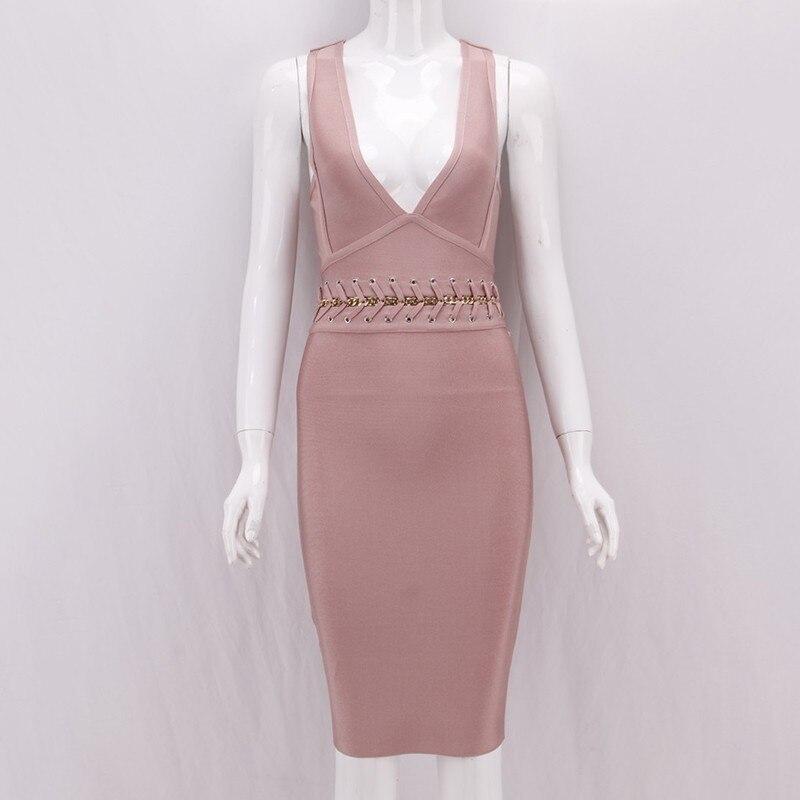 Pink Sans D'été Robes Nu Mode De Vgh Nouveau Vêtements Taille V Encolure Pour Féminine Femmes Col Dress Dos Sexy Les Manches Haute Moulante Robe ABx05xq