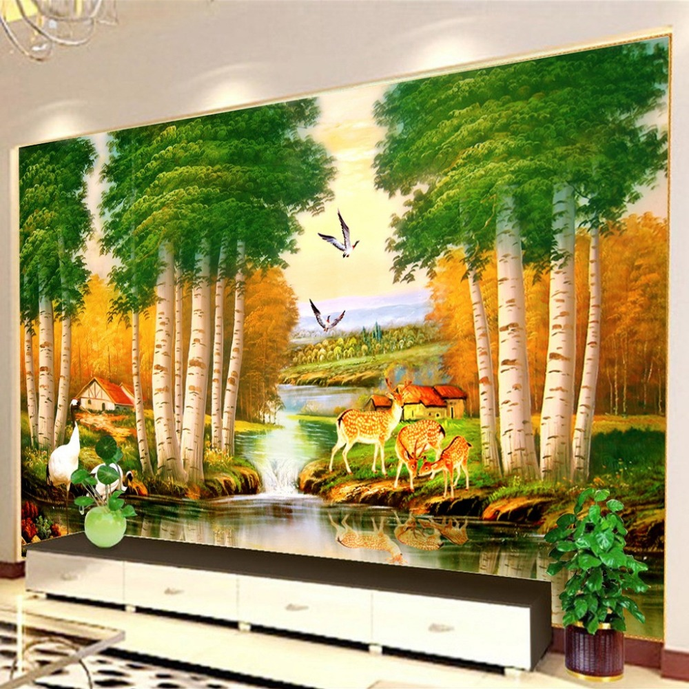 Birch backdrop promotion shop for promotional birch for Custom mural painting