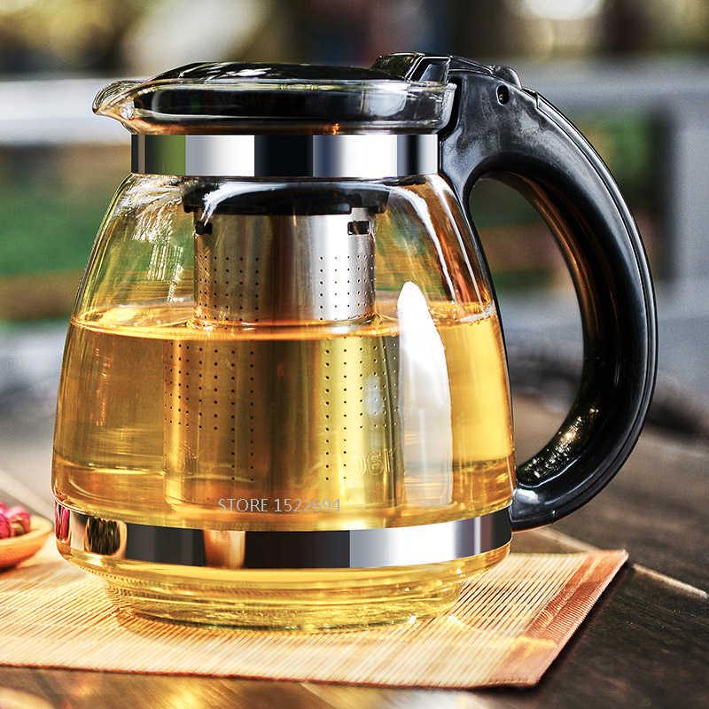 Стеклянный 1.5L чайный горшок качество ситечко для чая со съемным Infuser Pro дизайн чайник с чайным фильтром внутри