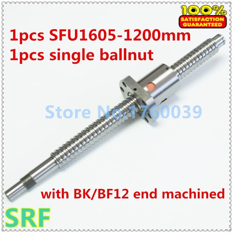 100% Brand New 1pcs 16mm SFU1605 Rolled ball screw L=1200mm with SFU1605 Ballscrew nut for CNC Part