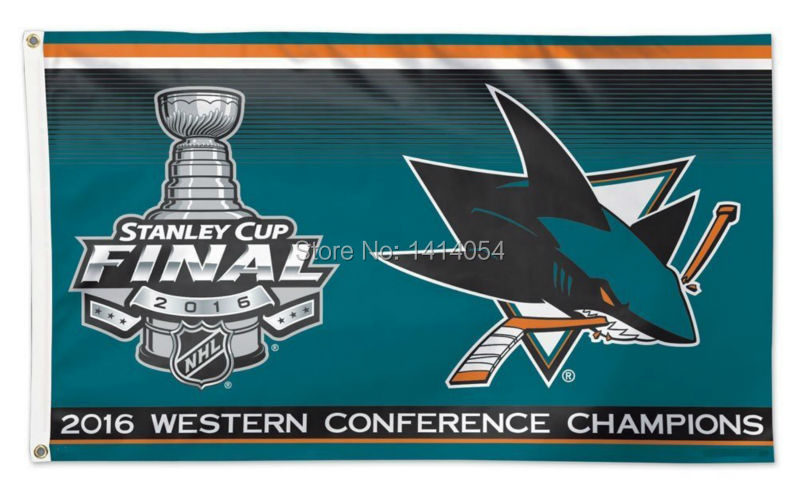 San Jose Sharks 2016 Western Conference Champion Flag 150X90CM NHL 3X5FT Banner 100D Polyester flag grommets 009, free shipping