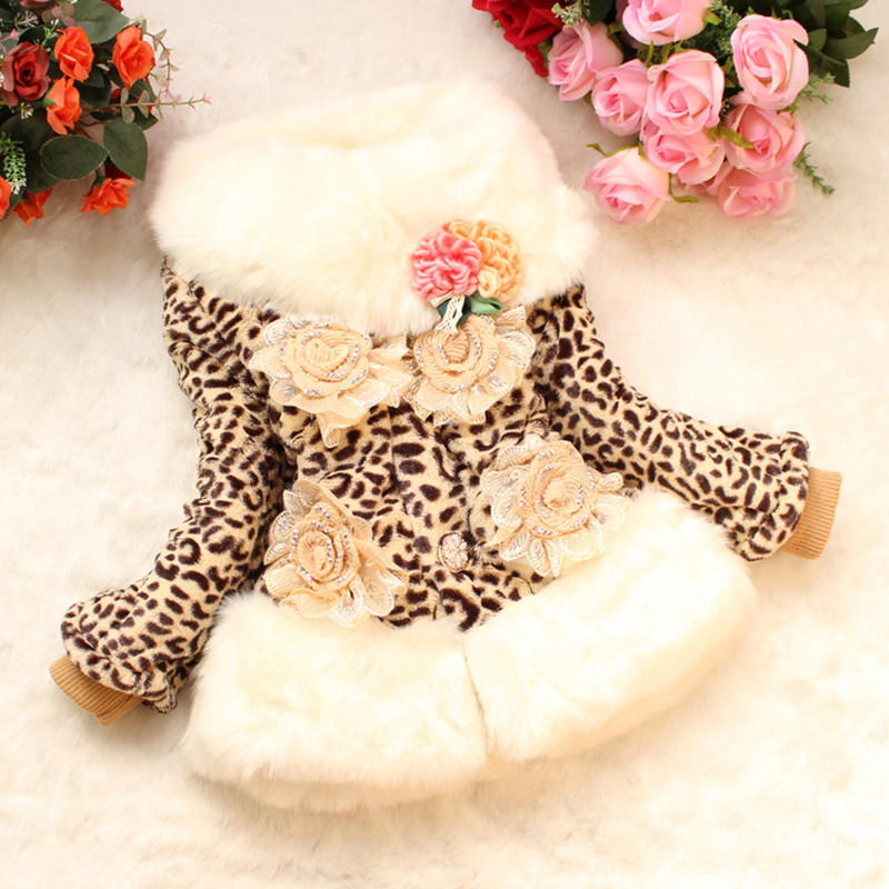 Fashion Winter Children Leopard Coat Faux Fur Wide Lapel Coat 3 to6Years Infant Clothing Fur Jackets Keep Warmming Girls Clothes notch lapel faux flap pocket texture cardigan