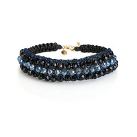 Colier Femme 2017 Elegant Blue Choker Necklace Thinestone Crystal Beads Hand Made Bib Neckalces Statement Choker
