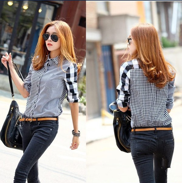 3a0f3874096 Discount during the spring and autumn outfit shirt blouse symmetrical grid  long sleeve shirt fashion cultivate one s morality