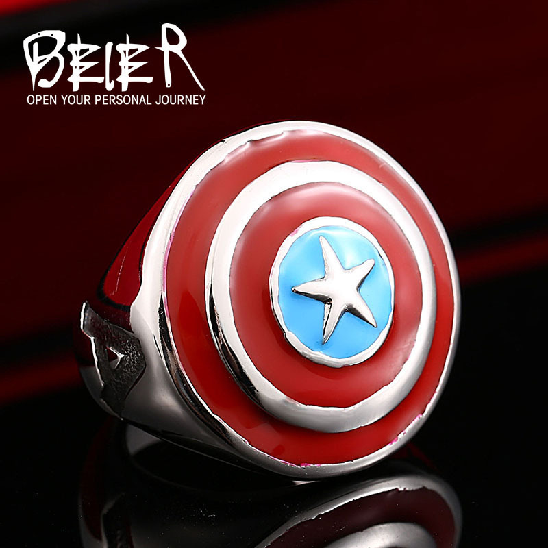 Beier new store 316L Stainless Steel ring top quality Captain America shield Ring Fashion Jewelry BR8-340