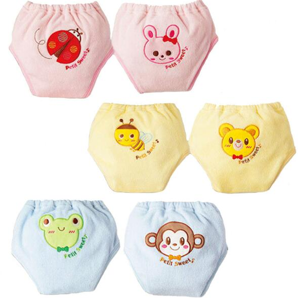 2pcs Lot 5 Layers Kid Underwear Baby Training Pants Child Study Pants Nappy Cover Thickening Towel Cloth Cartoon Style ZY06