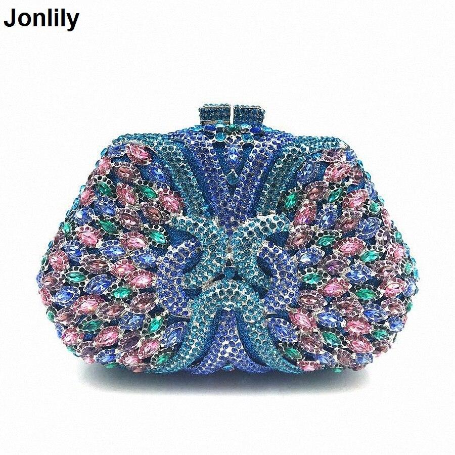 цена Good Quality Women Full Diamond Clutch Evening Bags Luxury Rhinestone Bling Wedding Bridal Bag Shoulder Bag LI-1570