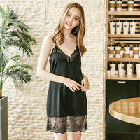 Comfortable casual thin sexy seductive nightdress Ladies solid color lace suspender home clothes for women nightie