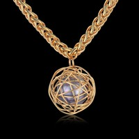 HIP HOP Jewelry 77CM Long Rope Chain Pendant Necklace For Men Women American Gold Color Ball