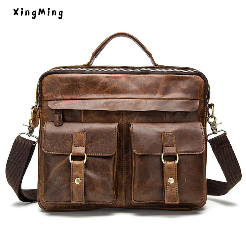 XINGMING Crazy Horse Genuine Leather Men Briefcase Messenger Laptop Bag Men Briefcase Business Travel Casual Shoulder Handbags цены