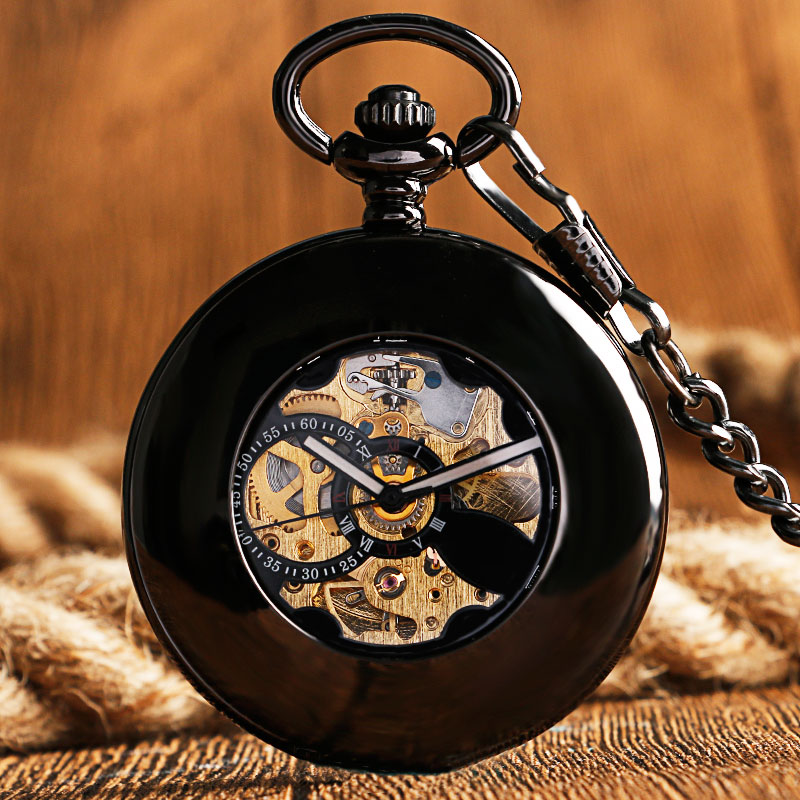 Vintage Smooth Case Fob Roman Numerals Steampunk Black Automatic Mechanical Pocket Watch Luxury Men Women Clock Pendant  Gift roman numerals skeleton watches steampunk pocket watch with chain 2 sides open case luxury brand mechanical pocket watch