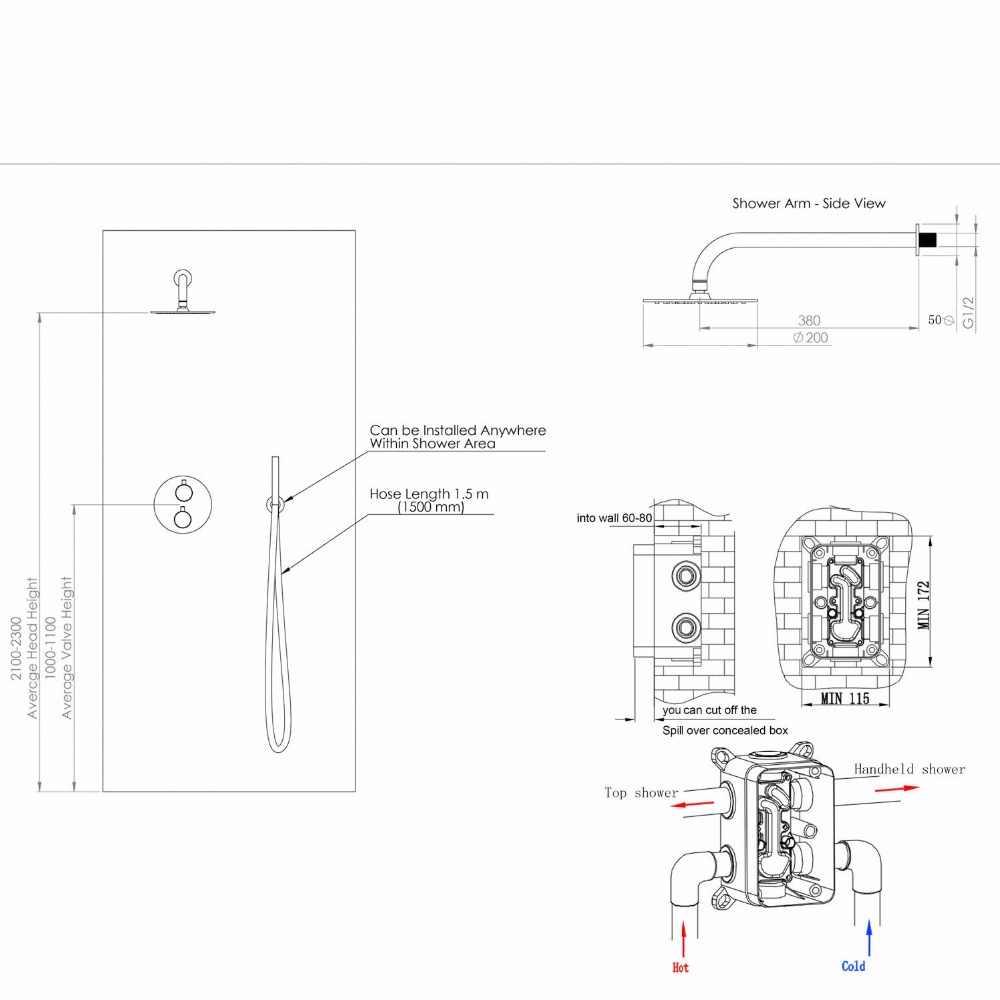 8 inch shower tap set matte black 10 brass rainfall shower faucet with 2 way diverter valve trim hand held shower kit 16 141