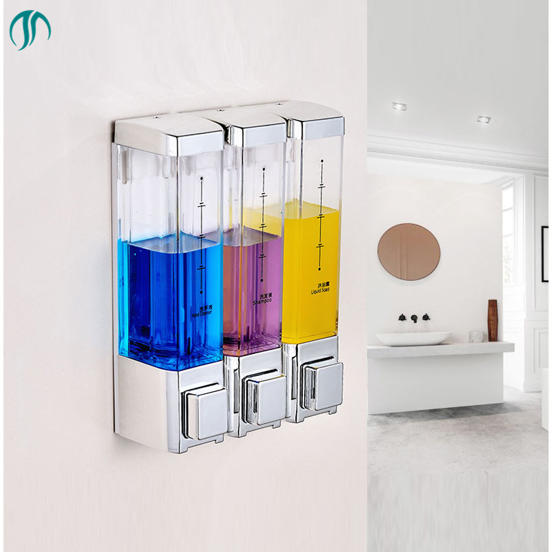 Plastic ABS Square Soap Dispenser Double Transparent Hand Soap Liquid Dispenser Dispensador Transparent Soap Dispenser Manual