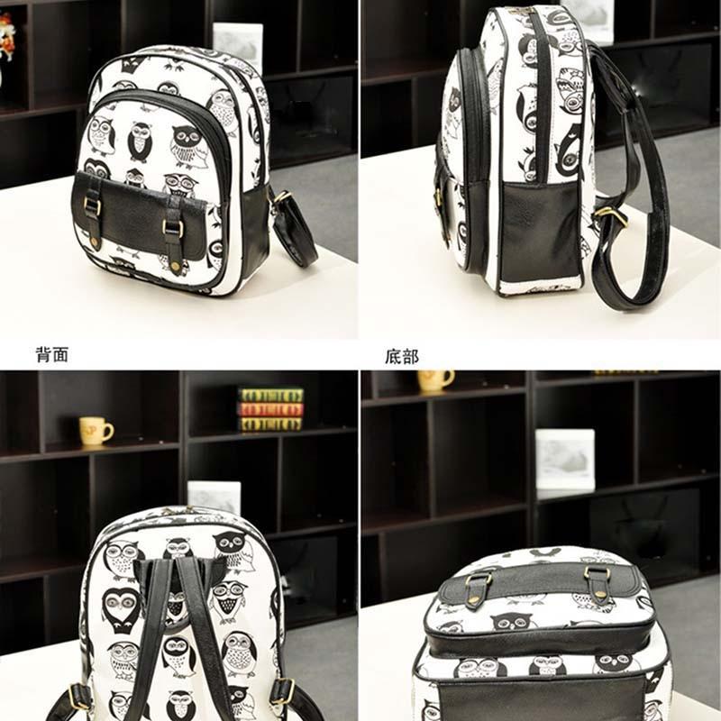 Fashion Women Backpack Leather Owl Tiger Printed Zipper Bag For Ladies Girls Travel School Shoulder Bags