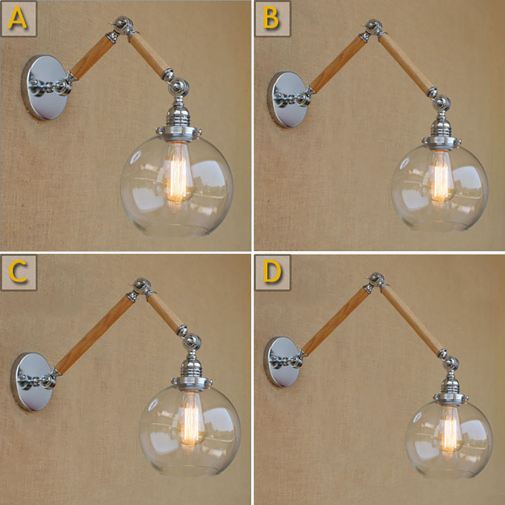 Nordic adjustable E27/E26 led swing arm wood glass ball shade wall lamp reading  vintage light for restaurant bedroom cafe bar top grade wood handcrafted swing arm light sconce led wall lamp nordic style home decoration lighting e27 black with switch